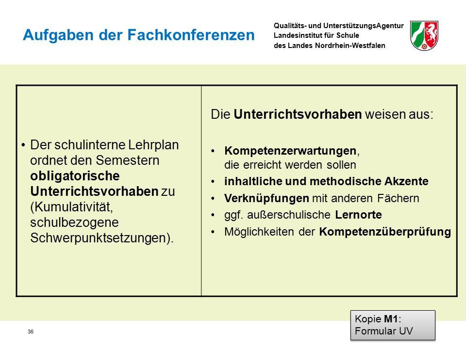 Qualitäts- und UnterstützungsAgentur Landesinstitut für Schule des Landes Nordrhein-Westfalen 36 Der schulinterne Lehrplan ordnet den Semestern obliga