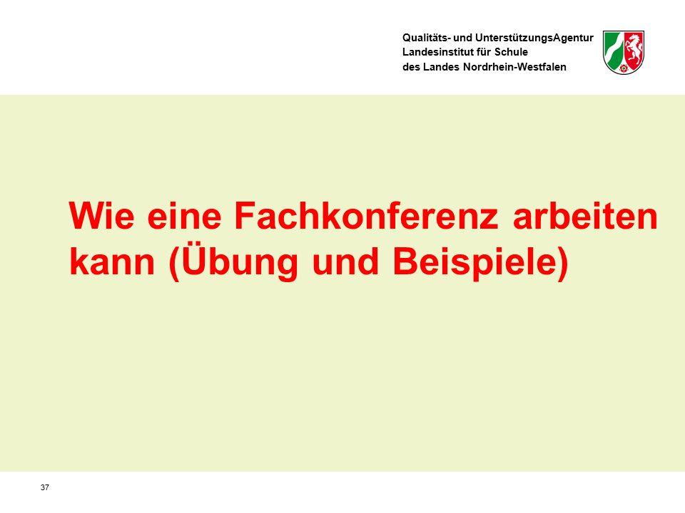Qualitäts- und UnterstützungsAgentur Landesinstitut für Schule des Landes Nordrhein-Westfalen 37 Wie eine Fachkonferenz arbeiten kann (Übung und Beispiele)