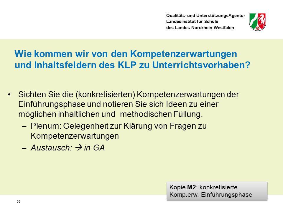 Qualitäts- und UnterstützungsAgentur Landesinstitut für Schule des Landes Nordrhein-Westfalen 38 Sichten Sie die (konkretisierten) Kompetenzerwartunge