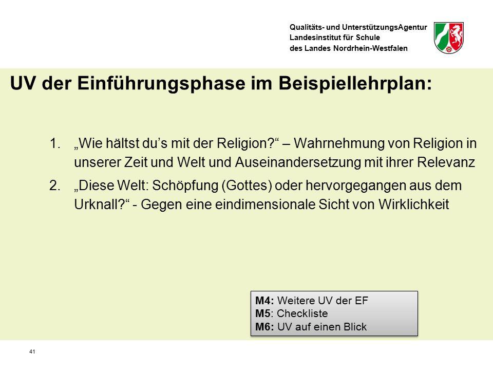 """Qualitäts- und UnterstützungsAgentur Landesinstitut für Schule des Landes Nordrhein-Westfalen 41 1.""""Wie hältst du's mit der Religion?"""" – Wahrnehmung v"""