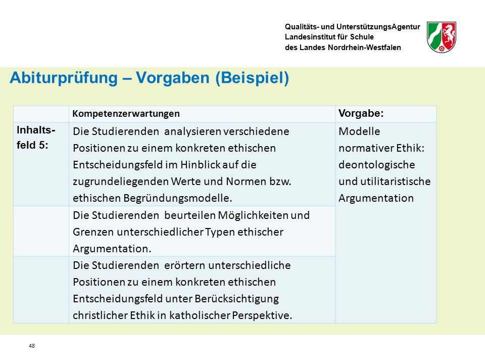 Qualitäts- und UnterstützungsAgentur Landesinstitut für Schule des Landes Nordrhein-Westfalen 48 Kompetenzerwartungen Vorgabe: Inhalts- feld 5: Die St