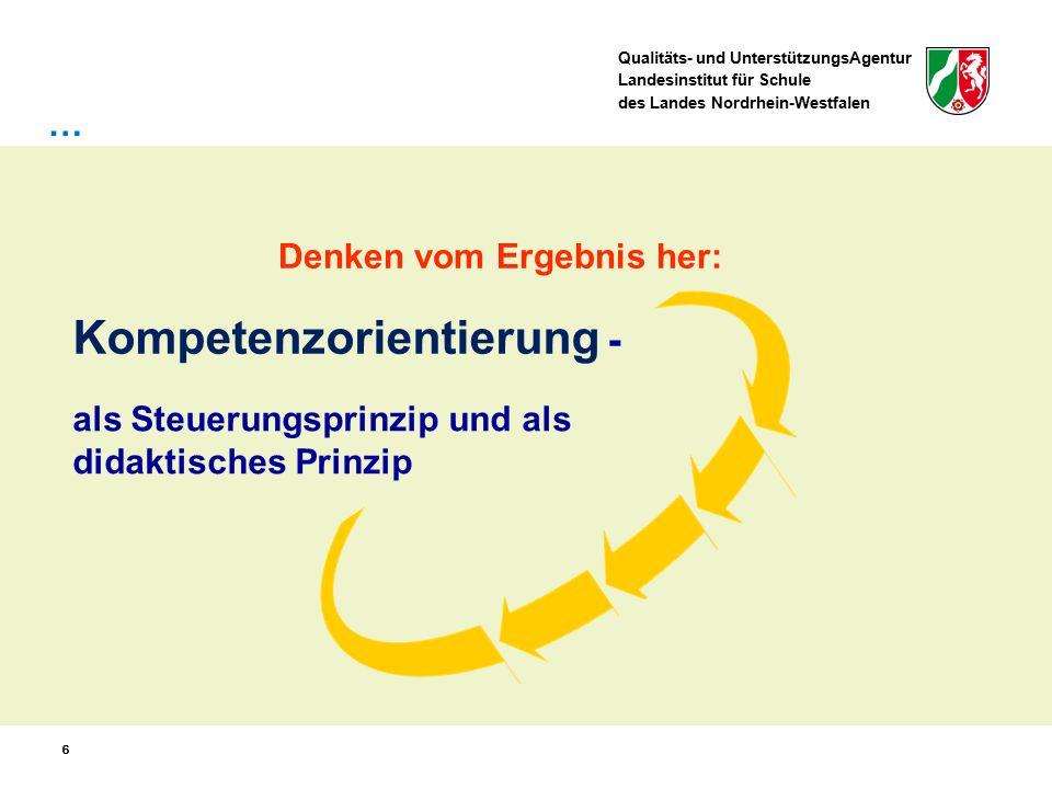 Qualitäts- und UnterstützungsAgentur Landesinstitut für Schule des Landes Nordrhein-Westfalen 66 als Steuerungsprinzip und als didaktisches Prinzip Kompetenzorientierung - … Denken vom Ergebnis her: 6