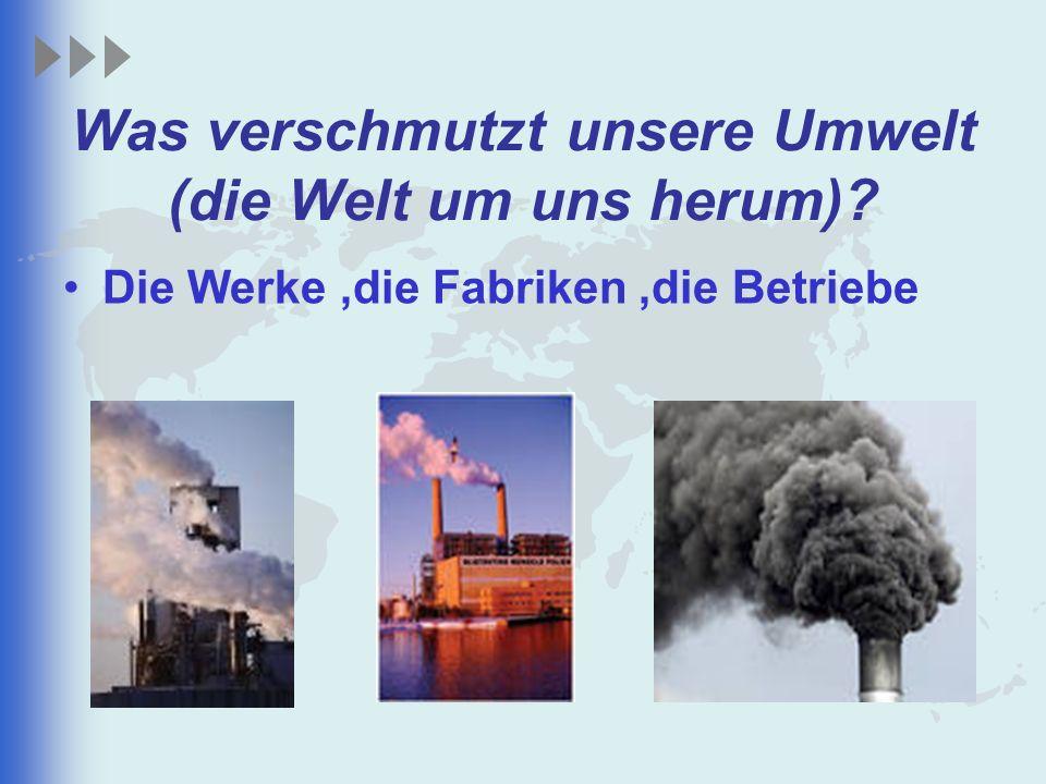Was verschmutzt unsere Umwelt (die Welt um uns herum)? Die Werke,die Fabriken,die Betriebe
