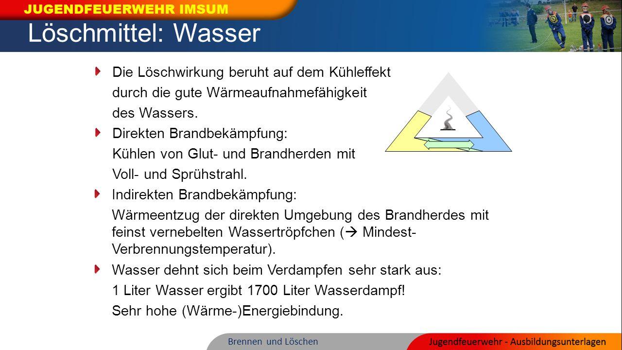Löschmittel: Wasser Indirekten Brandbekämpfung: Wärmeentzug der direkten Umgebung des Brandherdes mit feinst vernebelten Wassertröpfchen (  Mindest-