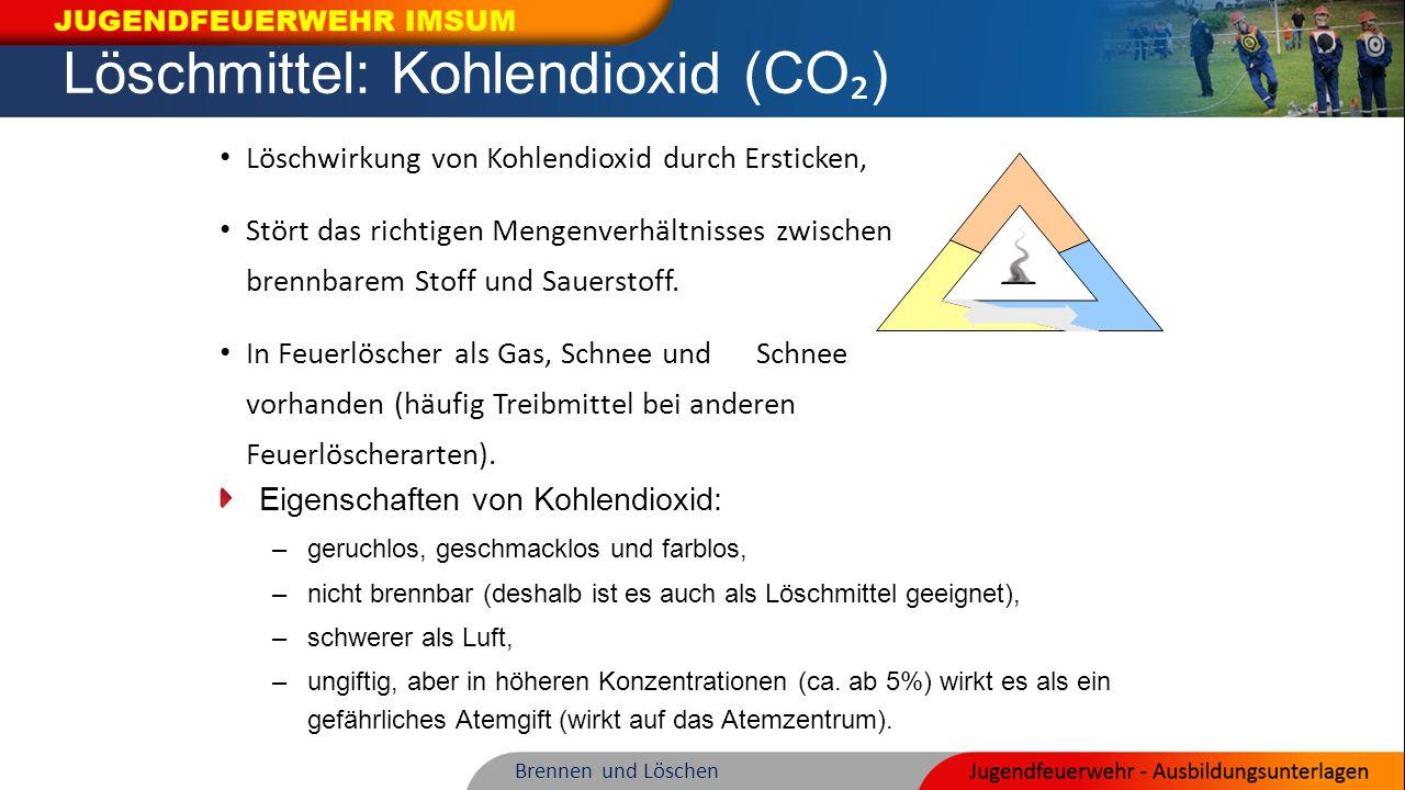 Löschmittel: Kohlendioxid (CO ₂ ) Löschwirkung von Kohlendioxid durch Ersticken, Stört das richtigen Mengenverhältnisses zwischen brennbarem Stoff und