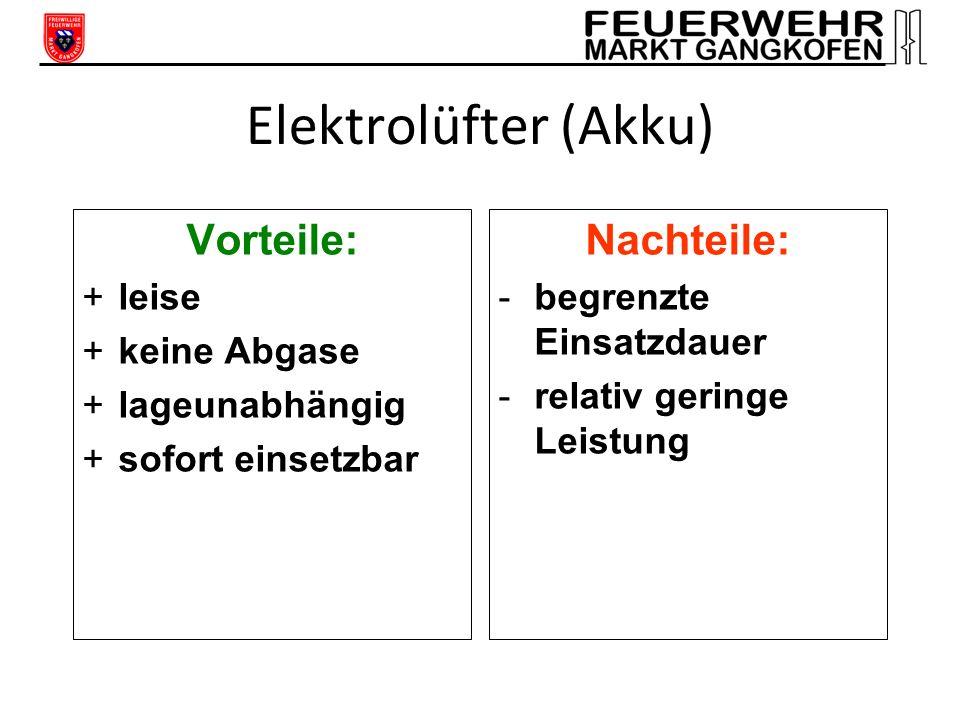 Elektrolüfter (Kabel) Vorteile: +leise +keine Abgase +lageunabhängig Nachteile: -Generator erforderlich -um ca. 30% geringere Leistung als Geräte mit