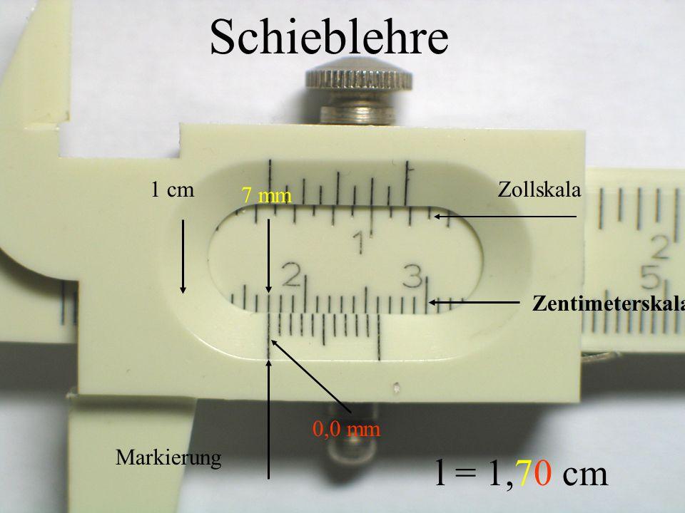 3 cm 3 mm 0,9 mm Markierung l = 3,39 cm Schieblehre Zollskala Zentimeterskala