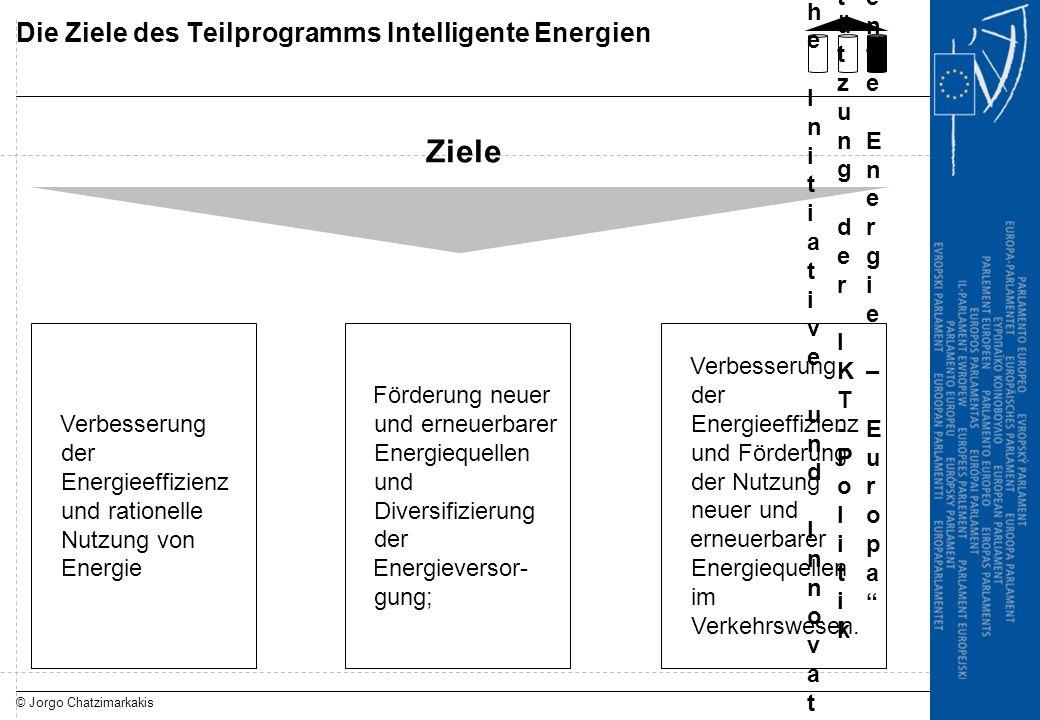 © Jorgo Chatzimarkakis Die Ziele des Teilprogramms Intelligente Energien Ziele Förderung neuer und erneuerbarer Energiequellen und Diversifizierung de