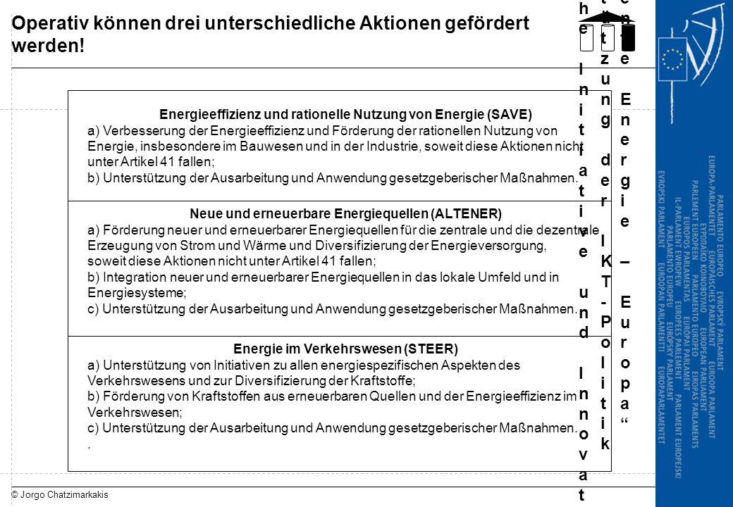 © Jorgo Chatzimarkakis Operativ können drei unterschiedliche Aktionen gefördert werden! Energieeffizienz und rationelle Nutzung von Energie (SAVE) a)