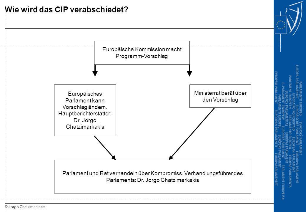 © Jorgo Chatzimarkakis Wie wird das CIP verabschiedet? Europäische Kommission macht Programm-Vorschlag Ministerrat berät über den Vorschlag Europäisch