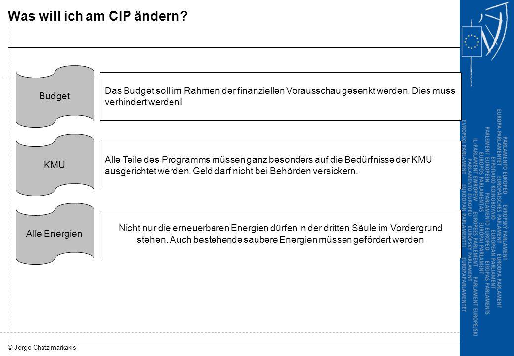 © Jorgo Chatzimarkakis Was will ich am CIP ändern? Budget Das Budget soll im Rahmen der finanziellen Vorausschau gesenkt werden. Dies muss verhindert