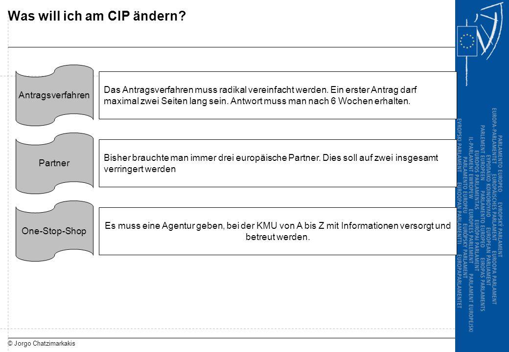 © Jorgo Chatzimarkakis Was will ich am CIP ändern? Antragsverfahren Das Antragsverfahren muss radikal vereinfacht werden. Ein erster Antrag darf maxim