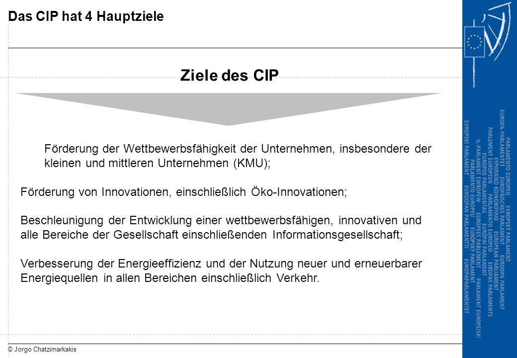 © Jorgo Chatzimarkakis Das CIP hat 4 Hauptziele Ziele des CIP Förderung der Wettbewerbsfähigkeit der Unternehmen, insbesondere der kleinen und mittler