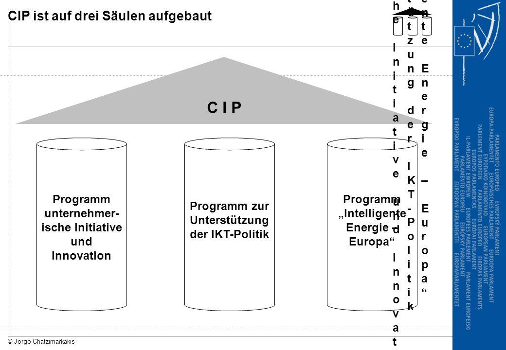 © Jorgo Chatzimarkakis CIP ist auf drei Säulen aufgebaut C I P Programm unternehmer- ische Initiative und Innovation Programm zur Unterstützung der IK