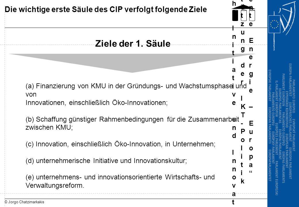 © Jorgo Chatzimarkakis Die wichtige erste Säule des CIP verfolgt folgende Ziele Ziele der 1. Säule (a) Finanzierung von KMU in der Gründungs- und Wach