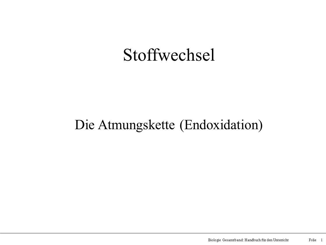Folie 1Biologie Gesamtband: Handbuch für den Unterricht Stoffwechsel Die Atmungskette (Endoxidation)