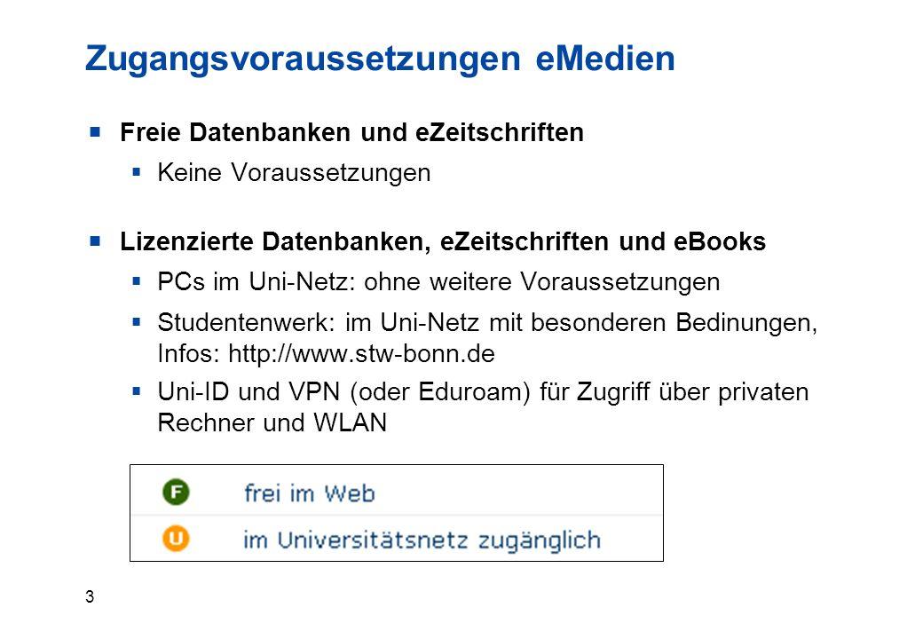 3 Zugangsvoraussetzungen eMedien  Freie Datenbanken und eZeitschriften  Keine Voraussetzungen  Lizenzierte Datenbanken, eZeitschriften und eBooks  PCs im Uni-Netz: ohne weitere Voraussetzungen  Studentenwerk: im Uni-Netz mit besonderen Bedinungen, Infos: http://www.stw-bonn.de  Uni-ID und VPN (oder Eduroam) für Zugriff über privaten Rechner und WLAN