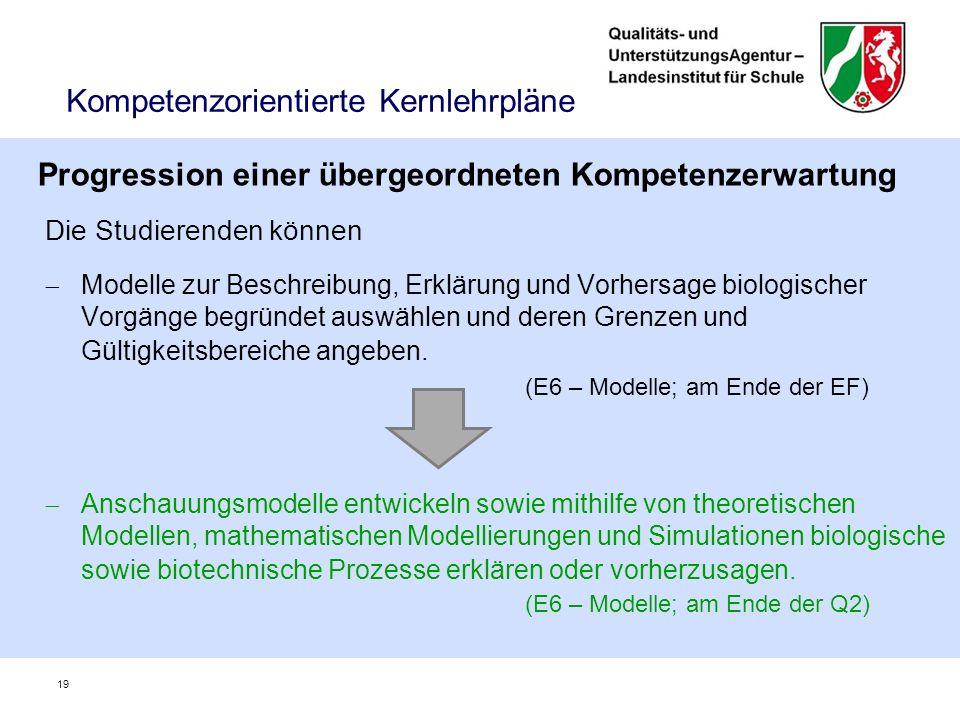 Kompetenzorientierte Kernlehrpläne Die Studierenden können  Modelle zur Beschreibung, Erklärung und Vorhersage biologischer Vorgänge begründet auswählen und deren Grenzen und Gültigkeitsbereiche angeben.