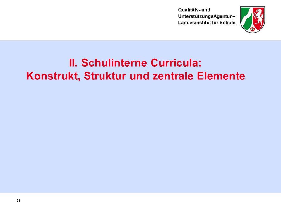 21 II. Schulinterne Curricula: Konstrukt, Struktur und zentrale Elemente 21
