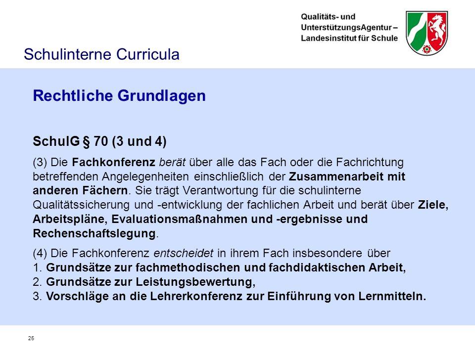 Rechtliche Grundlagen SchulG § 70 (3 und 4) (3) Die Fachkonferenz berät über alle das Fach oder die Fachrichtung betreffenden Angelegenheiten einschließlich der Zusammenarbeit mit anderen Fächern.