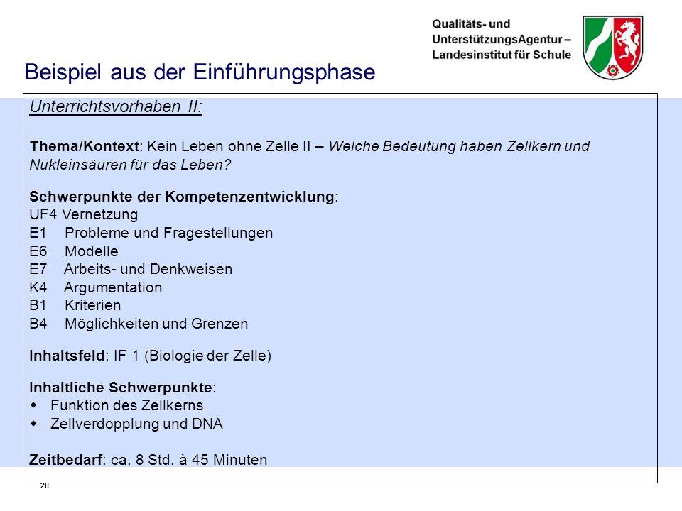 28 Beispiel aus der Einführungsphase Unterrichtsvorhaben II: Thema/Kontext: Kein Leben ohne Zelle II – Welche Bedeutung haben Zellkern und Nukleinsäuren für das Leben.