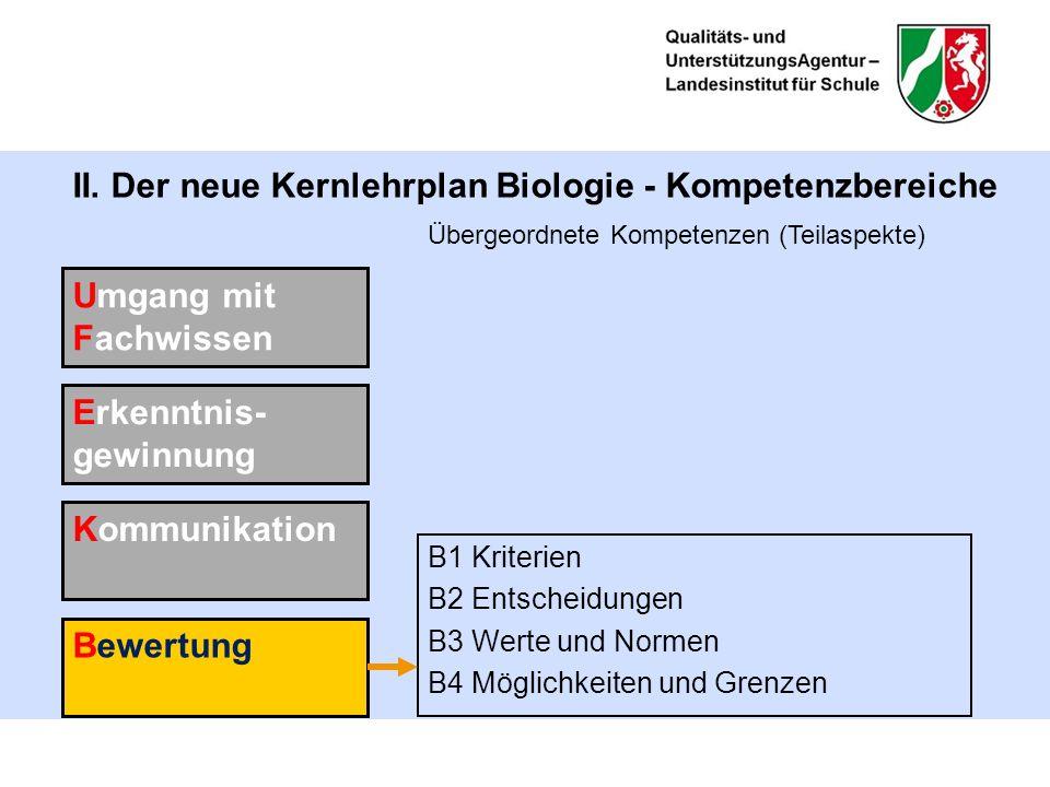 II. Der neue Kernlehrplan Biologie - Kompetenzbereiche B1 Kriterien B2 Entscheidungen B3 Werte und Normen B4 Möglichkeiten und Grenzen Umgang mit Fach