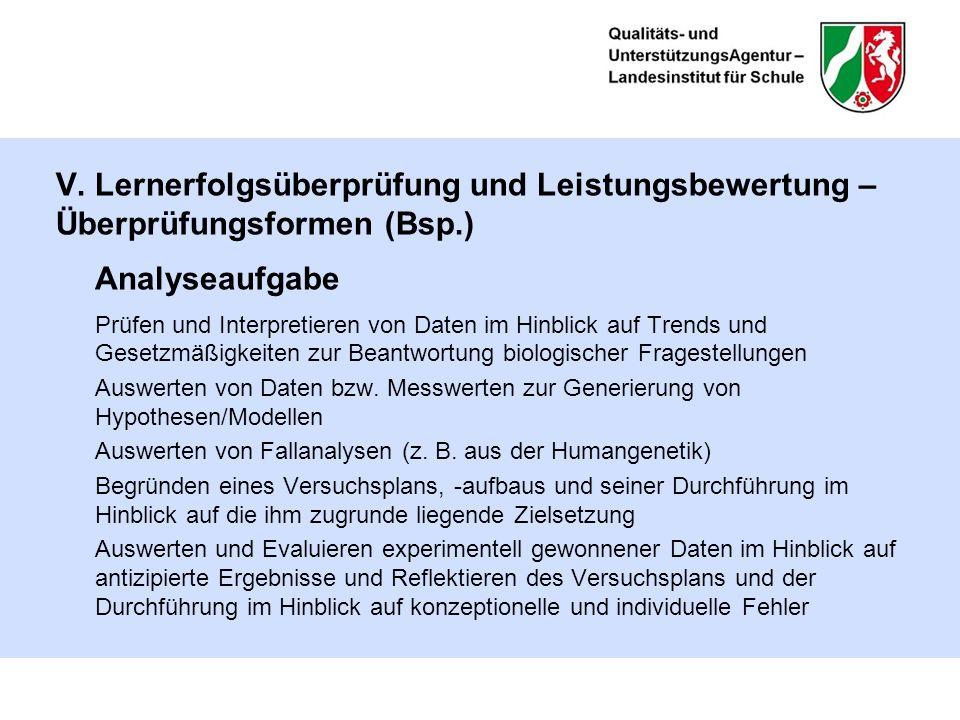 V. Lernerfolgsüberprüfung und Leistungsbewertung – Überprüfungsformen (Bsp.) Analyseaufgabe Prüfen und Interpretieren von Daten im Hinblick auf Trends