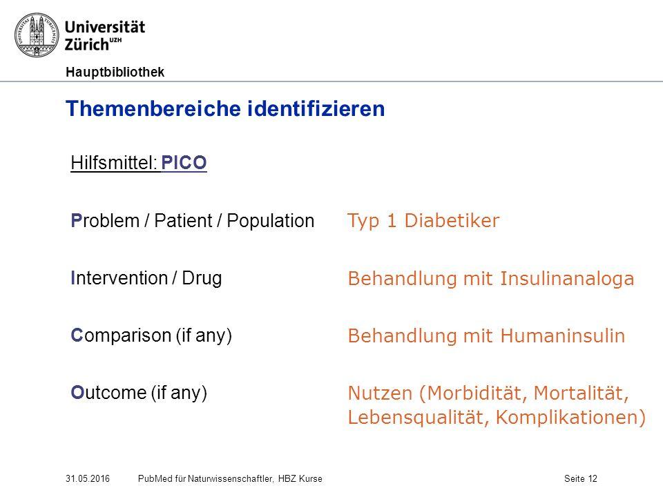 Hauptbibliothek Themenbereiche identifizieren 31.05.2016PubMed für Naturwissenschaftler, HBZ KurseSeite 12 Hilfsmittel: PICO Problem / Patient / Popul