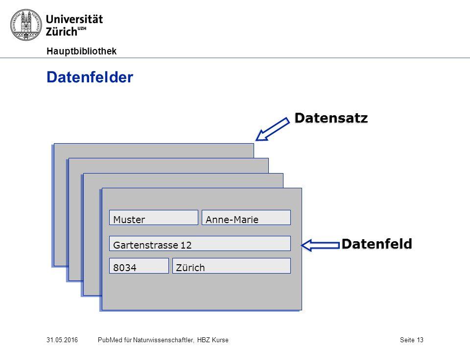 Hauptbibliothek 31.05.2016Seite 13 Datenfelder MusterAnne-Marie Gartenstrasse 12 8034Zürich Datensatz Datenfeld PubMed für Naturwissenschaftler, HBZ K