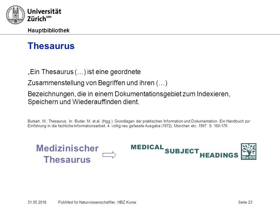 """Hauptbibliothek 31.05.2016Seite 23 Thesaurus """"Ein Thesaurus (…) ist eine geordnete Zusammenstellung von Begriffen und ihren (…) Bezeichnungen, die in"""