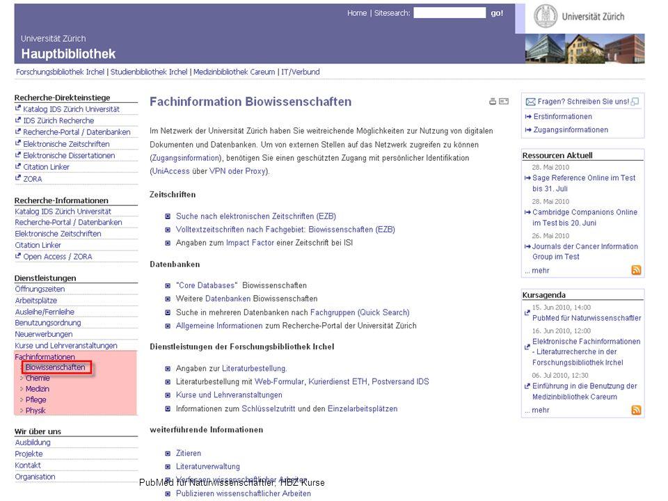 Hauptbibliothek 31.05.2016Seite 35PubMed für Naturwissenschaftler, HBZ Kurse
