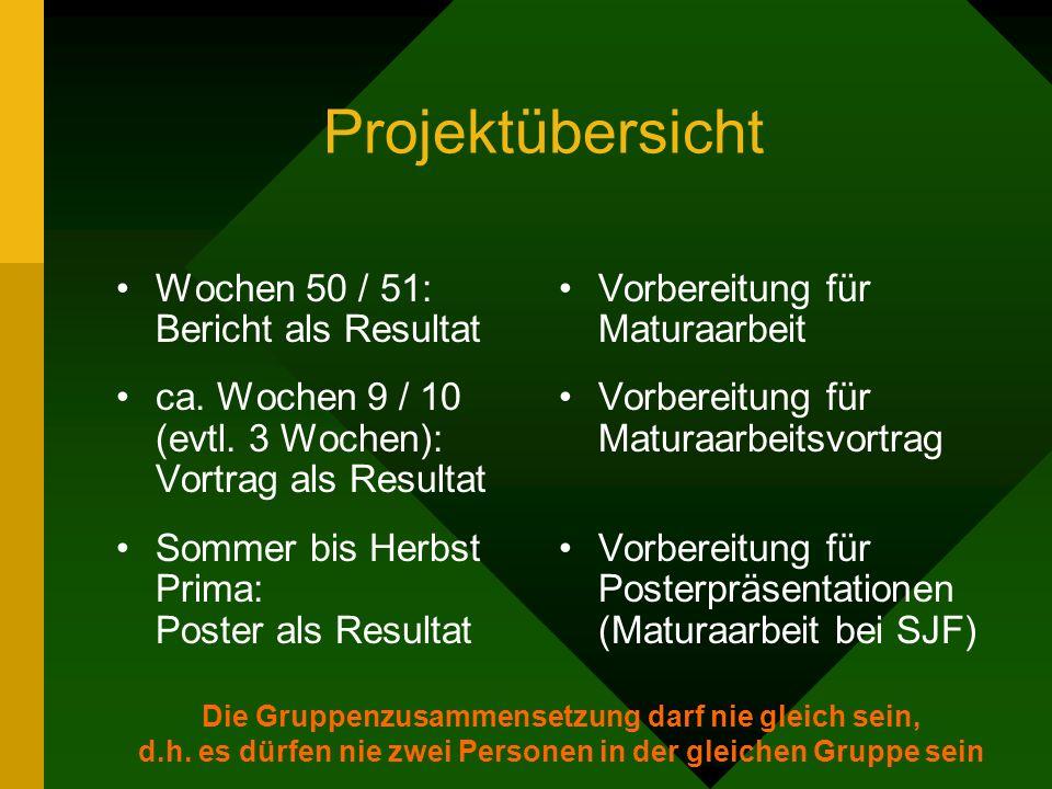 Projektübersicht Wochen 50 / 51: Bericht als Resultat ca.