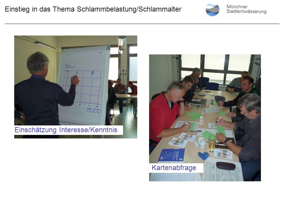 Präsentation der der Karten Einstieg in das Thema Schlammbelastung/Schlammalter