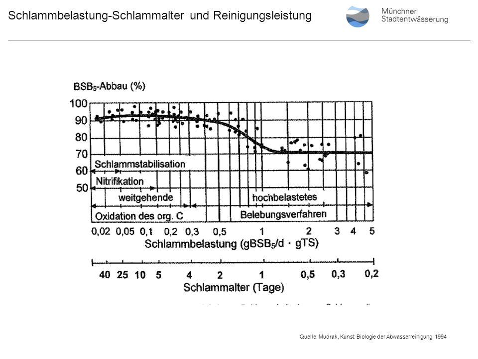 Schlammbelastung-Schlammalter und Reinigungsleistung Quelle: Mudrak, Kunst: Biologie der Abwasserreinigung, 1994