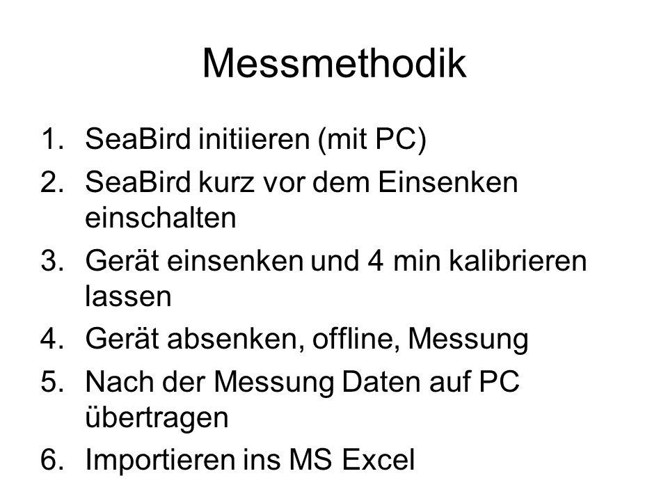 Messmethodik 1.SeaBird initiieren (mit PC) 2.SeaBird kurz vor dem Einsenken einschalten 3.Gerät einsenken und 4 min kalibrieren lassen 4.Gerät absenken, offline, Messung 5.Nach der Messung Daten auf PC übertragen 6.Importieren ins MS Excel