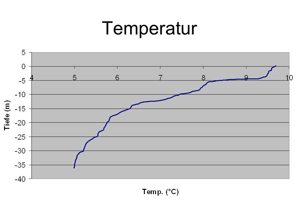 Beobachtung: Temperatur nimmt zwischen 4 und 5m extrem ab Bis 17m nimmt Temperatur immer noch relativ schnell ab Interpretation: Sprungschicht befindet sich zwischen 4 und 5m See ist nicht mehr vollständig gemischt.