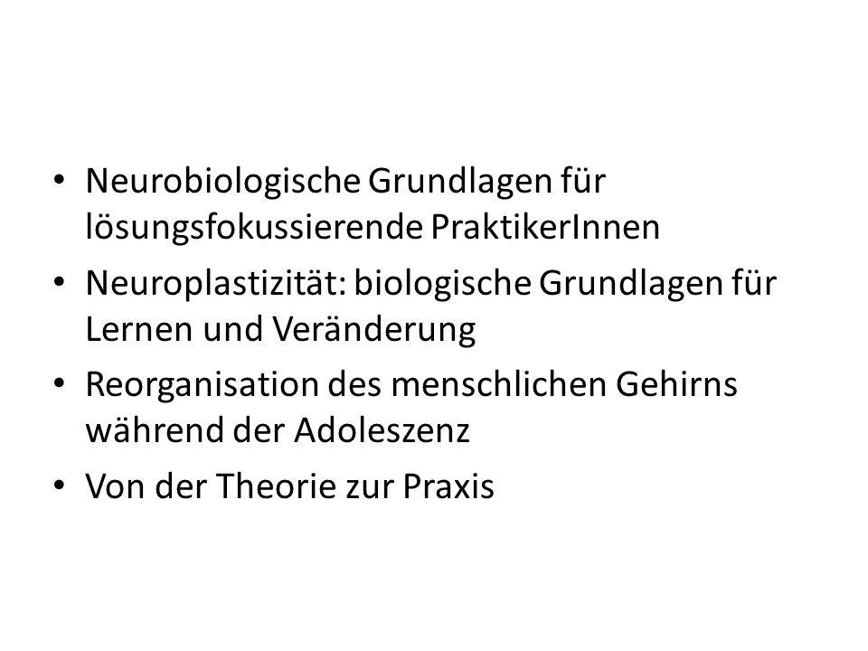 Neurobiologische Grundlagen für lösungsfokussierende PraktikerInnen Neuroplastizität: biologische Grundlagen für Lernen und Veränderung Reorganisation