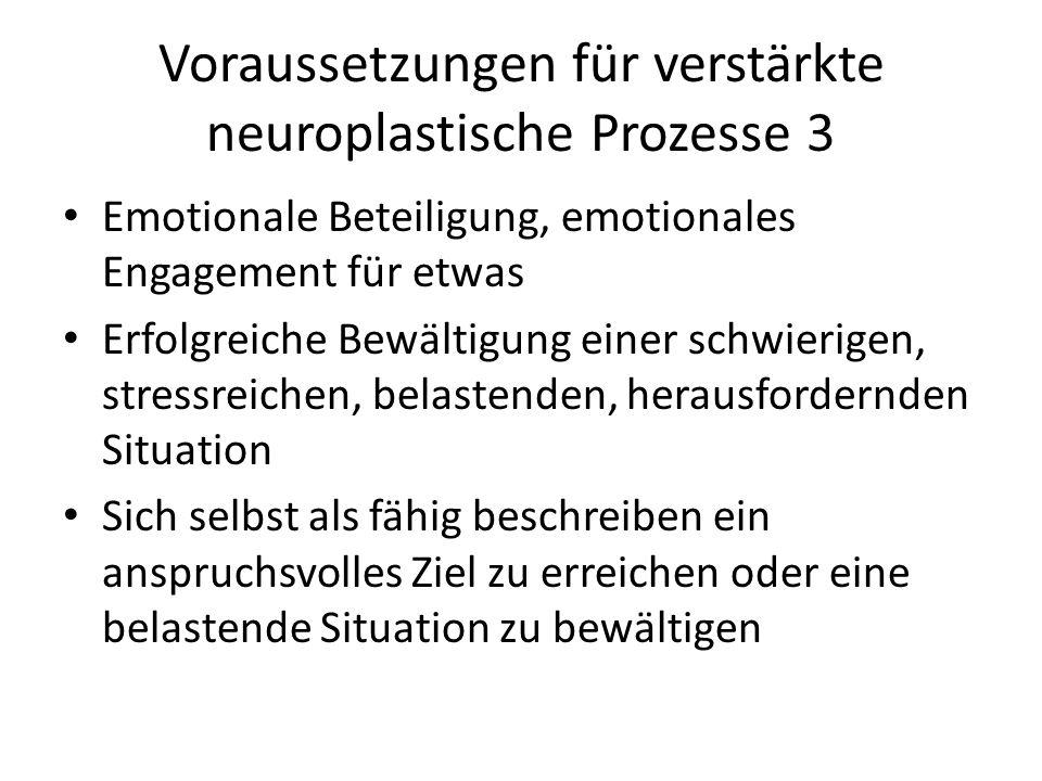 Voraussetzungen für verstärkte neuroplastische Prozesse 3 Emotionale Beteiligung, emotionales Engagement für etwas Erfolgreiche Bewältigung einer schw