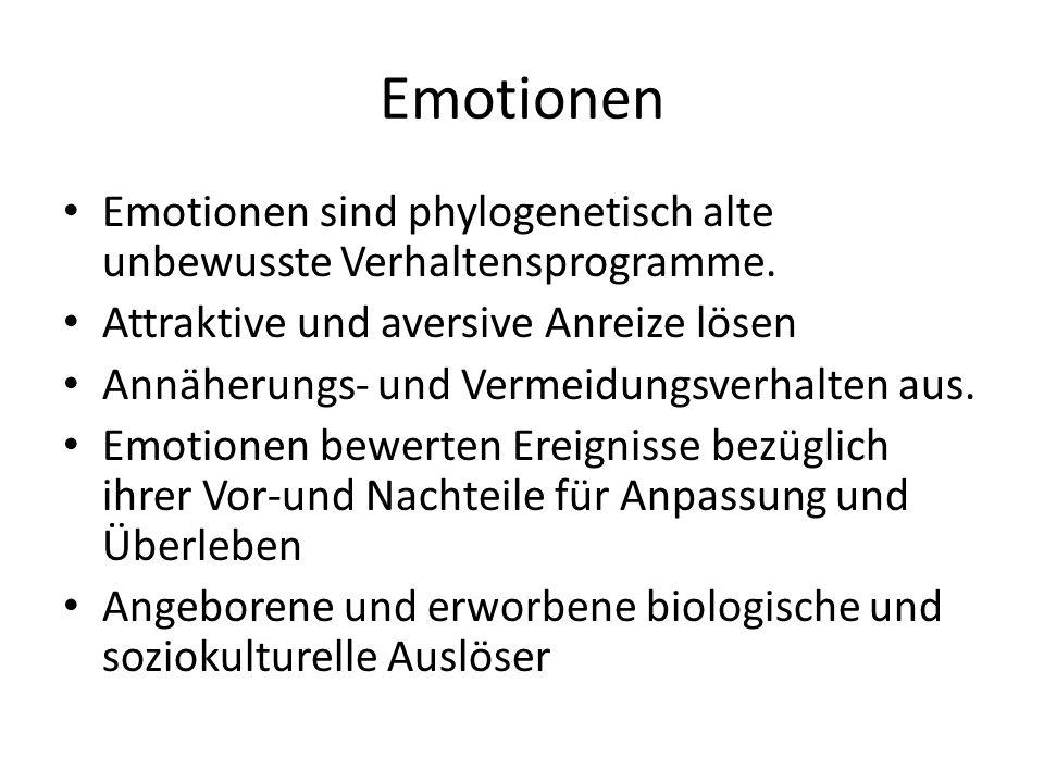 Emotionen Emotionen sind phylogenetisch alte unbewusste Verhaltensprogramme. Attraktive und aversive Anreize lösen Annäherungs- und Vermeidungsverhalt