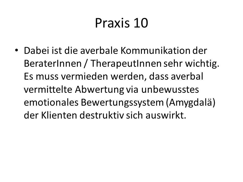 Praxis 10 Dabei ist die averbale Kommunikation der BeraterInnen / TherapeutInnen sehr wichtig. Es muss vermieden werden, dass averbal vermittelte Abwe
