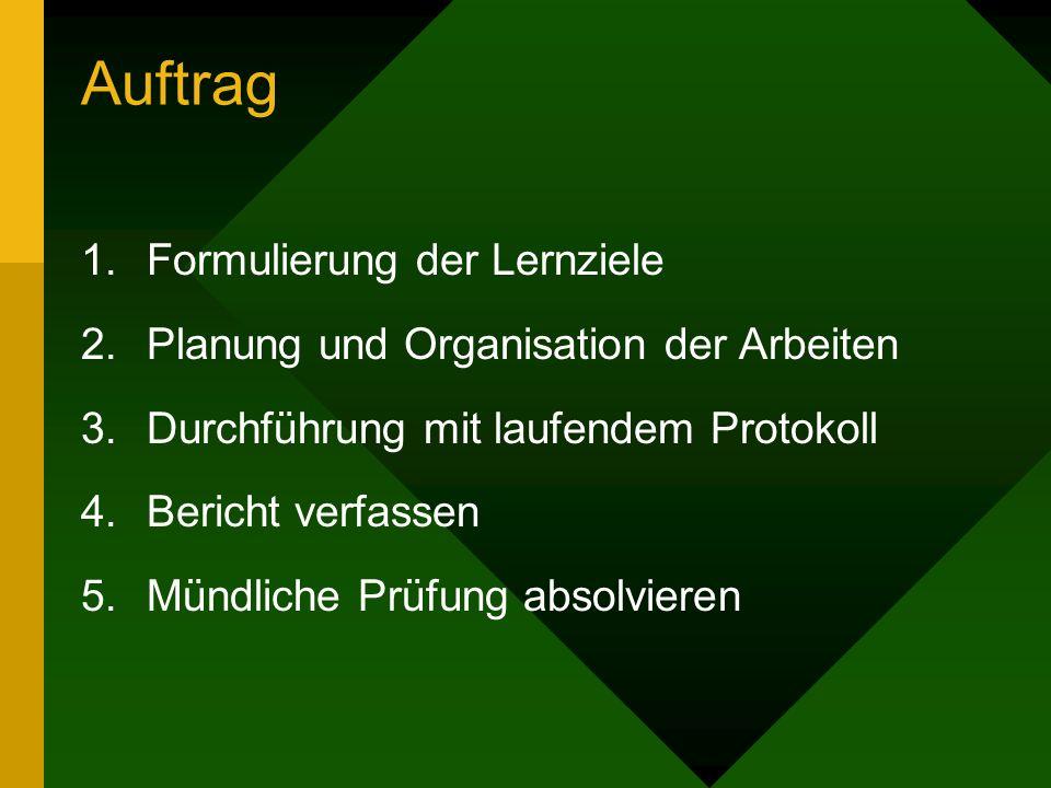 Auftrag 1.Formulierung der Lernziele 2.Planung und Organisation der Arbeiten 3.Durchführung mit laufendem Protokoll 4.Bericht verfassen 5.Mündliche Pr