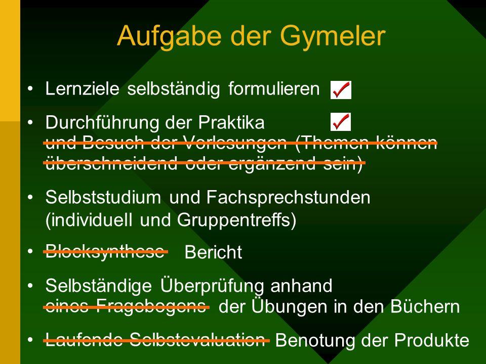 Aufgabe der Gymeler Lernziele selbständig formulieren Durchführung der Praktika und Besuch der Vorlesungen (Themen können überschneidend oder ergänzen