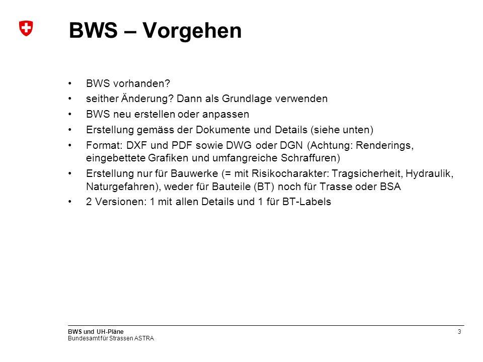 Bundesamt für Strassen ASTRA BWS und UH-Pläne3 BWS – Vorgehen BWS vorhanden? seither Änderung? Dann als Grundlage verwenden BWS neu erstellen oder anp
