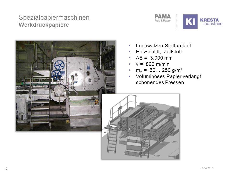 Spezialpapiermaschinen Werkdruckpapiere 10 18.04.2013 Lochwalzen-Stoffauflauf Holzschliff, Zellstoff AB = 3.000 mm v = 800 m/min m A = 50… 250 g/m² Voluminöses Papier verlangt schonendes Pressen