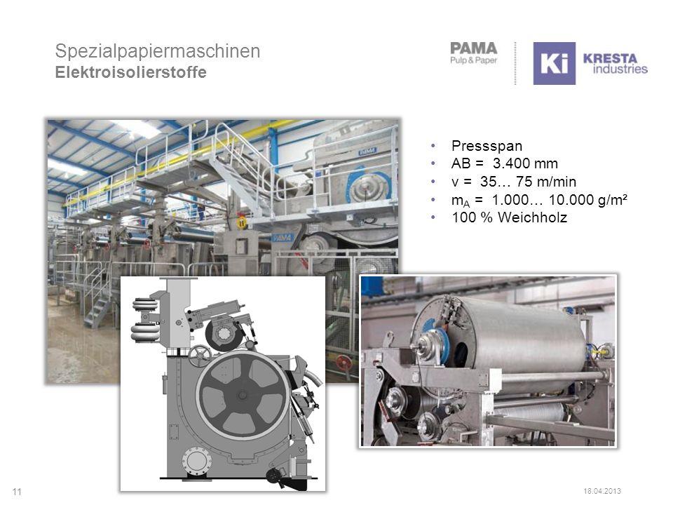 Spezialpapiermaschinen Elektroisolierstoffe 11 18.04.2013 Pressspan AB = 3.400 mm v = 35… 75 m/min m A = 1.000… 10.000 g/m² 100 % Weichholz