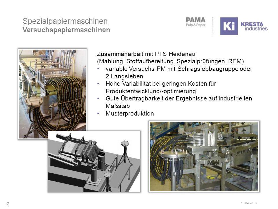 Spezialpapiermaschinen Versuchspapiermaschinen 12 18.04.2013 Zusammenarbeit mit PTS Heidenau (Mahlung, Stoffaufbereitung, Spezialprüfungen, REM) varia