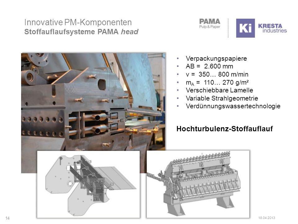 Innovative PM-Komponenten Stoffauflaufsysteme PAMA head Hochturbulenz-Stoffauflauf Verpackungspapiere AB = 2.600 mm v = 350… 800 m/min m A = 110… 270 g/m² Verschiebbare Lamelle Variable Strahlgeometrie Verdünnungswassertechnologie 14 18.04.2013