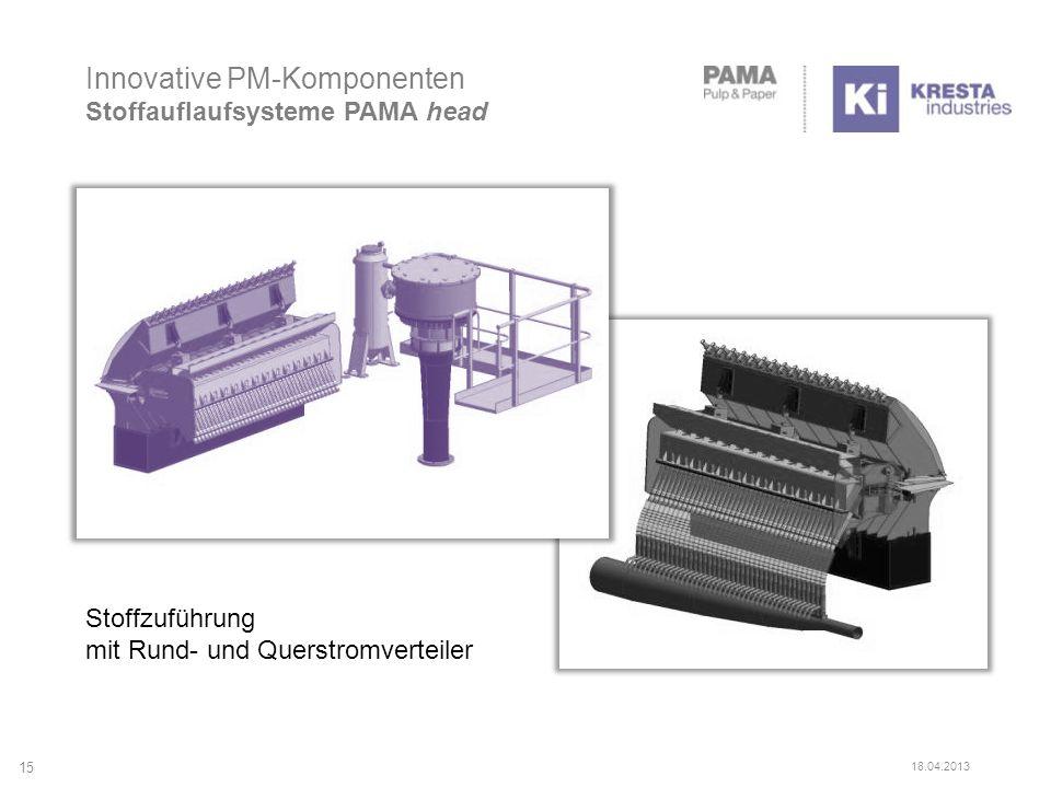 Innovative PM-Komponenten Stoffauflaufsysteme PAMA head Stoffzuführung mit Rund- und Querstromverteiler 15 18.04.2013