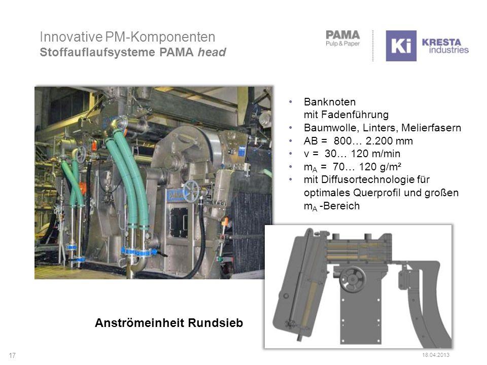 Innovative PM-Komponenten Stoffauflaufsysteme PAMA head Anströmeinheit Rundsieb Banknoten mit Fadenführung Baumwolle, Linters, Melierfasern AB = 800…