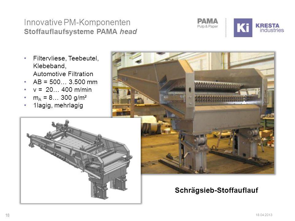 Innovative PM-Komponenten Stoffauflaufsysteme PAMA head Schrägsieb-Stoffauflauf Filtervliese, Teebeutel, Klebeband, Automotive Filtration AB = 500… 3.500 mm v = 20… 400 m/min m A = 8… 300 g/m² 1lagig, mehrlagig 18 18.04.2013